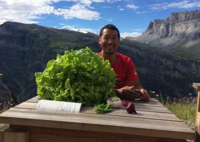 Récolte des légumes du jardin du Refuge du Grenairon