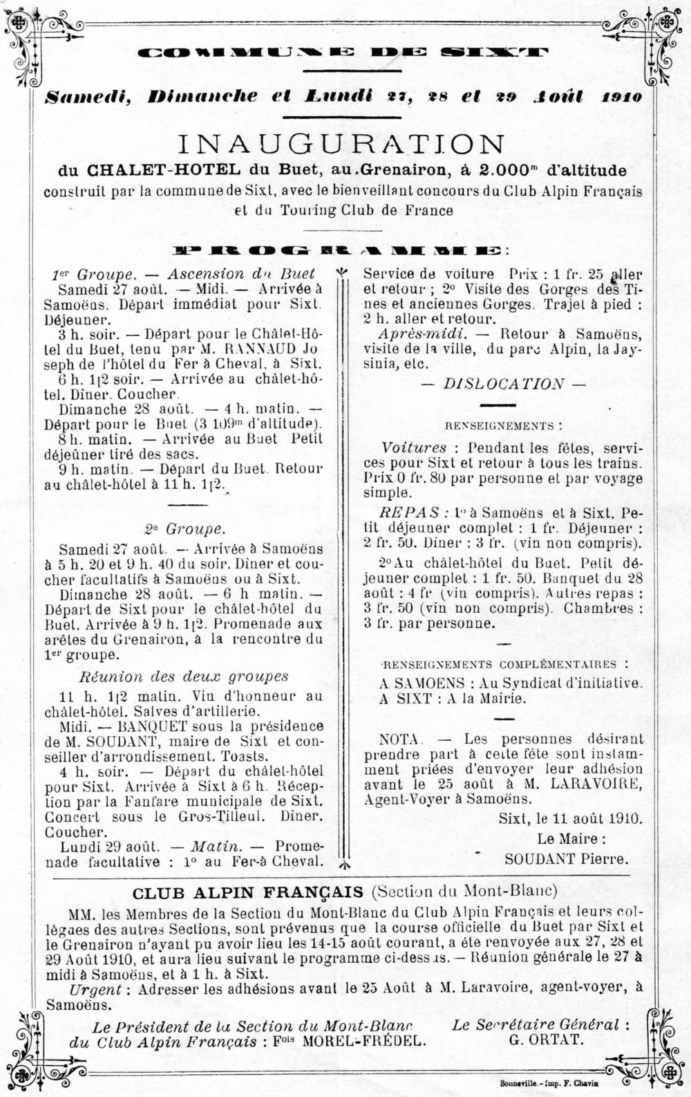 Affiche d'inauguration du refuge du grenairon