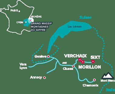 plan de situation du refuge - grand massif des montagnes du giffre